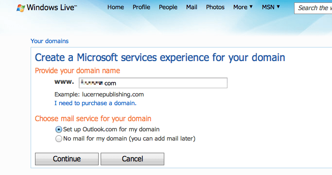 Live Domain de Hotmail
