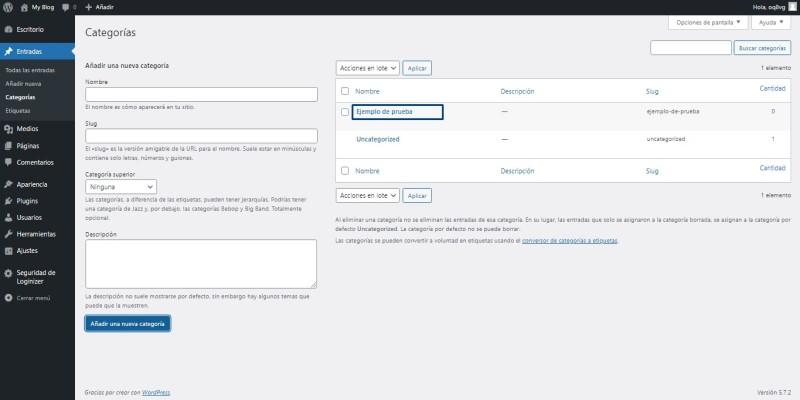 crear categorías en wordpress