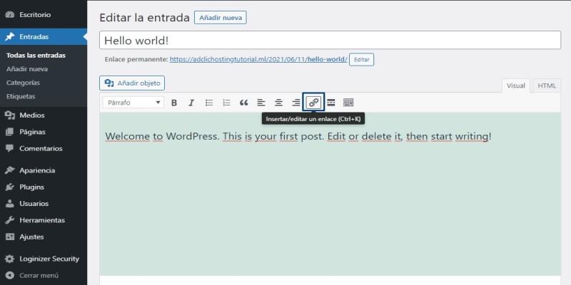 Añadir Enlaces en WordPress