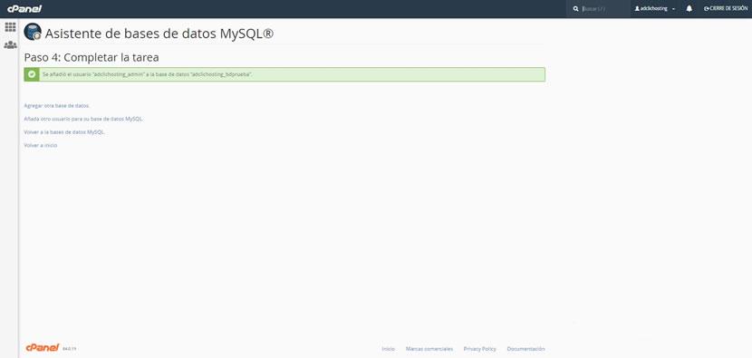 Asistente de bases de datos MySQL