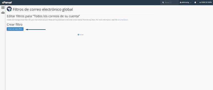 Filtros de correo electronico global