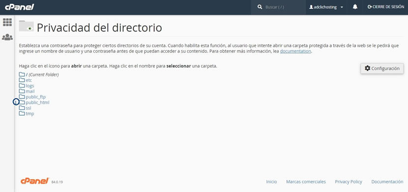 Privacidad del directorio