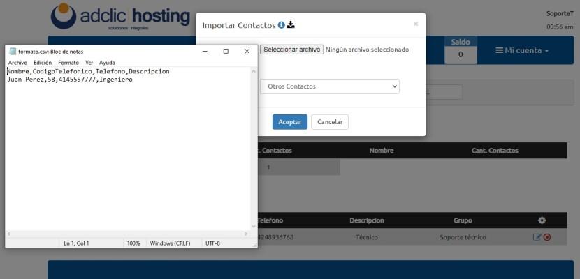 Cargar lista de contactos