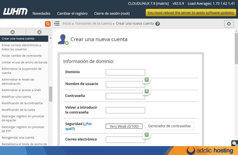 Cómo crear una nueva cuenta de Hosting cPanel en WHM